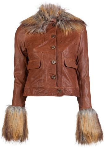 Rachel Zoe Fur Collar Leather Jacket - Lyst