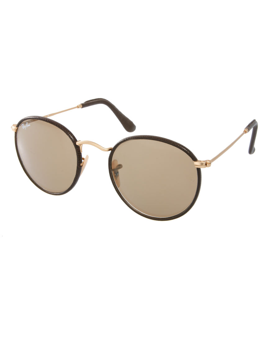 Ray Ban Round Sunglasses In Brown For Men Lyst