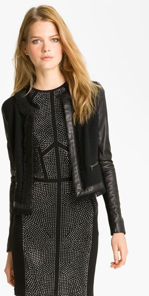Rebecca Taylor Tweed Leather Jacket - Lyst