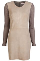 Rebecca Taylor Knit Suede Dress - Lyst