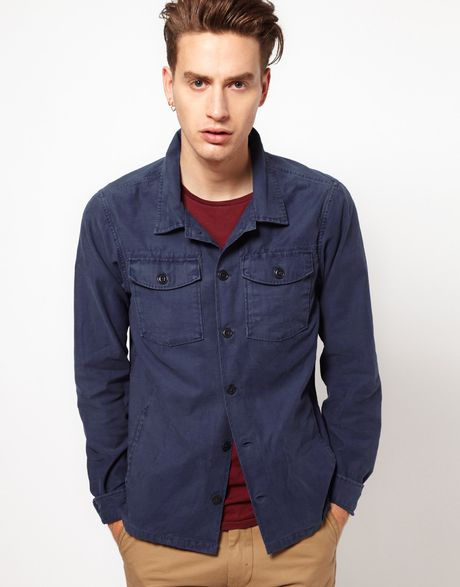 scotch soda scotch and soda workers jacket in blue for men lyst. Black Bedroom Furniture Sets. Home Design Ideas