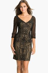 Sue Wong Embroidered Mesh Sheath Dress - Lyst