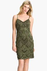 Sue Wong Embroidered Spaghetti Strap Mesh Sheath Dress - Lyst
