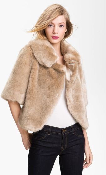 Ted Baker Crop Faux Fur Jacket - Lyst