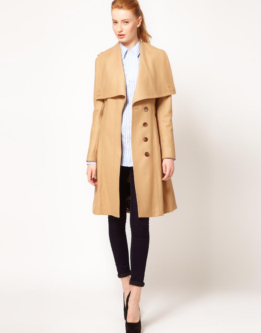 ted baker belted coat with big collar in natural lyst. Black Bedroom Furniture Sets. Home Design Ideas