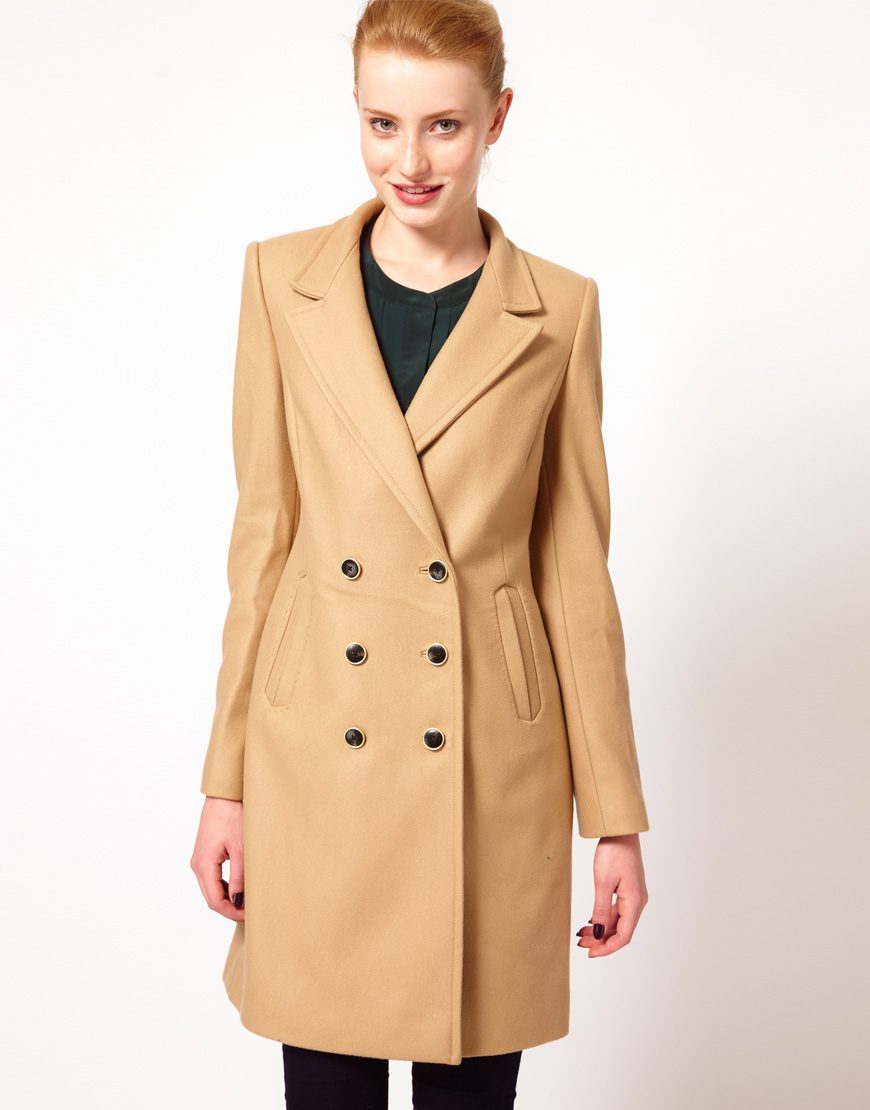 Ted baker Tailored Car Coat in Brown (camel) | Lyst