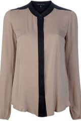 Theory Gerine Blouse in Beige - Lyst