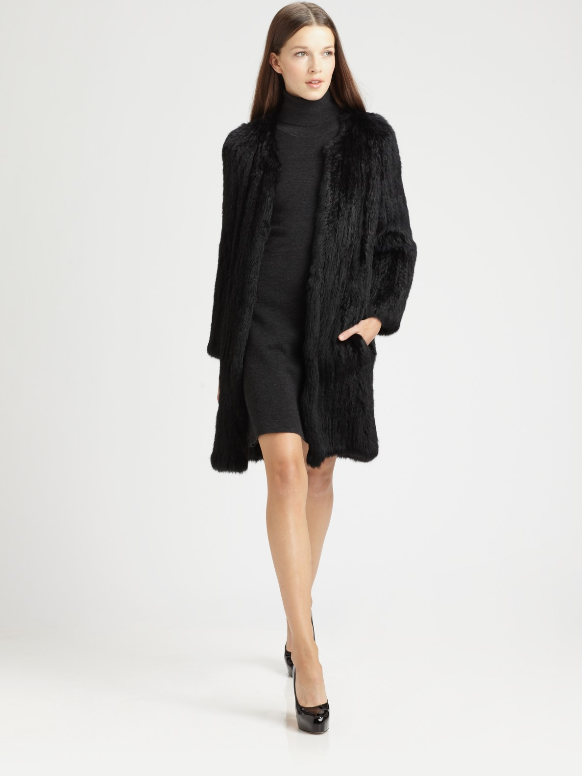 Theory Rabbit Fur Coat in Black | Lyst