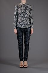 Theory Eva Blouse in Black - Lyst