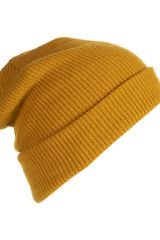 Topman Mustard Turn Up Beanie