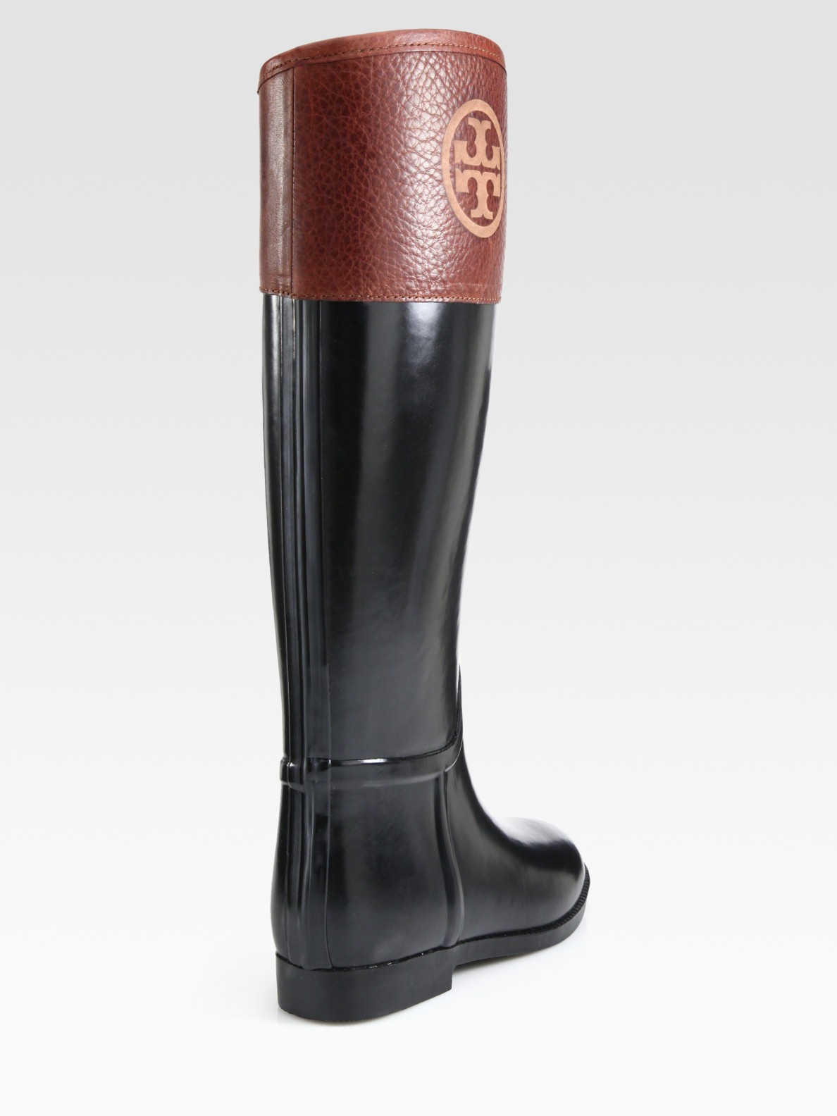 259bb3436fba4 Tory Burch Rain Boots Black And Brown - The Best Boots In The World