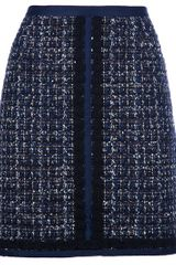 Tory Burch High Waisted Tweed Skirt in Blue - Lyst