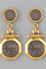 Tory Burch Daren Logocharm Earrings - Lyst