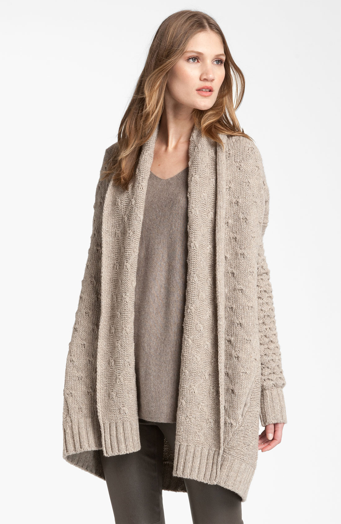 Knitting Pattern For Oversized Cardigan : Vince Mixed Knit Oversized Cardigan in Beige (oatmeal) Lyst