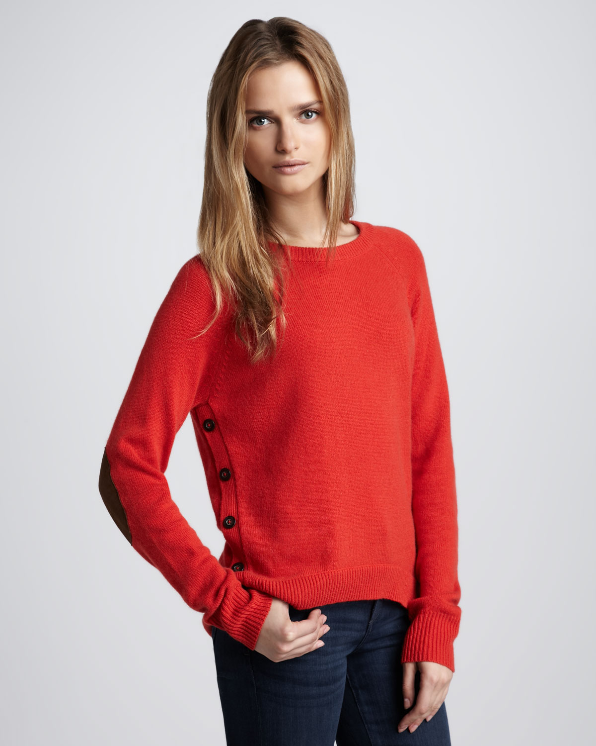 Elbow patch womens sweater