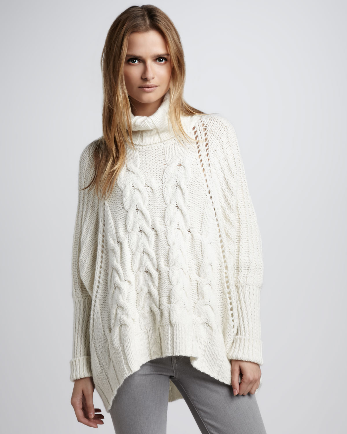 Autumn cashmere Chunky Cable Sweater in White | Lyst