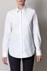 Balenciaga Poplin Zip Shirt in White - Lyst
