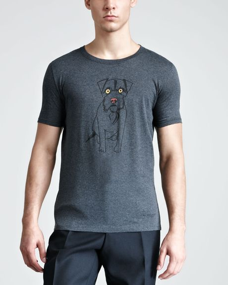 Burberry Prorsum Dogprint Tee in Gray for Men (dark charcoal) - Lyst