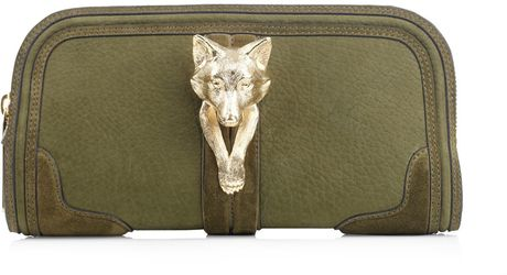 Burberry Prorsum Alma Gold Fox Clutch in Green (gold) - Lyst