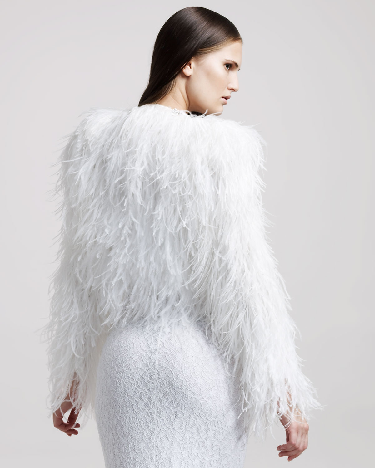 0206fe98ccd Givenchy Jewelled Ostrich Feather Fur Coat in White - Lyst