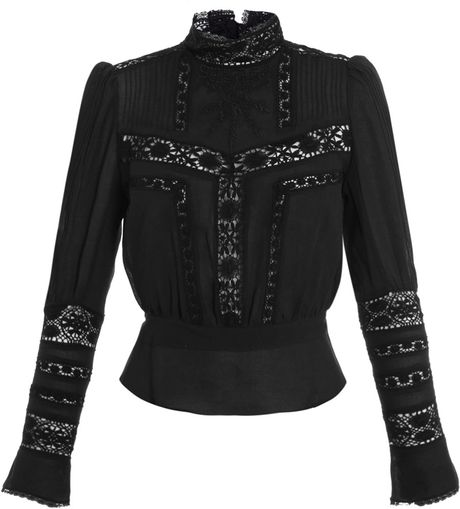 Isabel Marant Hamilton Embroidered Top in Black - Lyst
