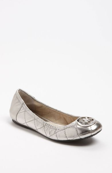 Michael By Michael Kors Fulton Ballet Flat in Silver (new nickel) - Lyst