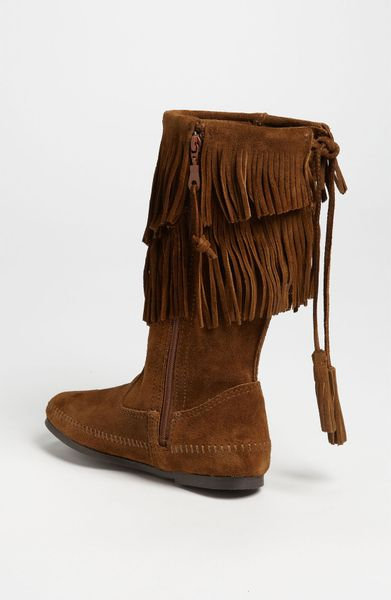 minnetonka two layer fringed boot in brown dusty brown