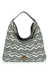 Missoni Large Black and Gray Jacquard and Leather Hobo Bag - Lyst