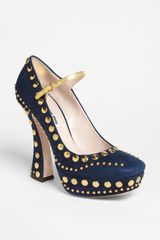 Miu Miu Studded Mary Jane Pump - Lyst