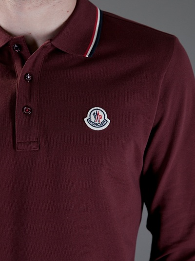 51ad29acb353 Moncler Logo Polo Shirt in Purple for Men - Lyst