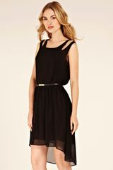 Oasis Cut Out Dip Hem Belted Dress in Black - Lyst