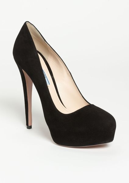 Prada Overlasted Platform Pump in Black - Lyst