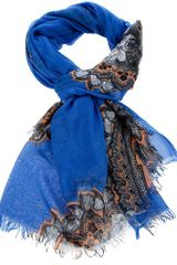 Stella Mccartney Fringed Scarf in Blue (sky) - Lyst