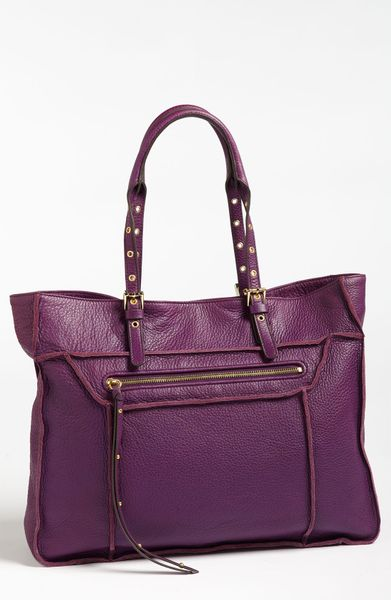 steven by steve madden france calfskin leather tote in purple eggplant lyst. Black Bedroom Furniture Sets. Home Design Ideas
