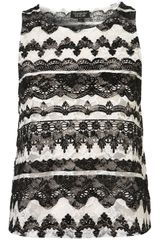 Topshop Baroque Velvet Lace Shell Top - Lyst