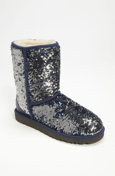 Ugg classic short sparkle boot in blue deco blue lyst