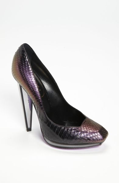 Saint Laurent Mirror Heel Pump in Gray (amethyste/ black) - Lyst