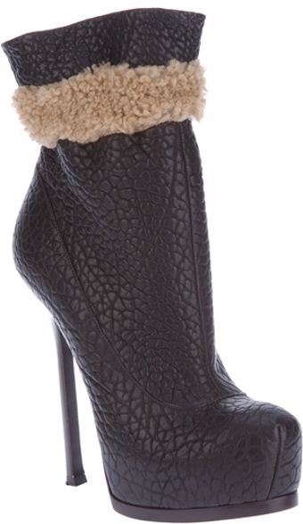 Yves Saint Laurent Shearling Detail Ankle Boot - Lyst