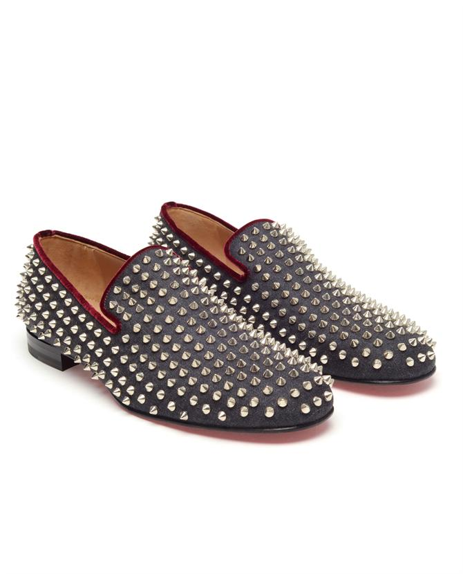 christian louboutin studded round-toe loafers