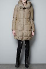 Zara Three Quarter Length Canvas Puffer Jacket - Lyst