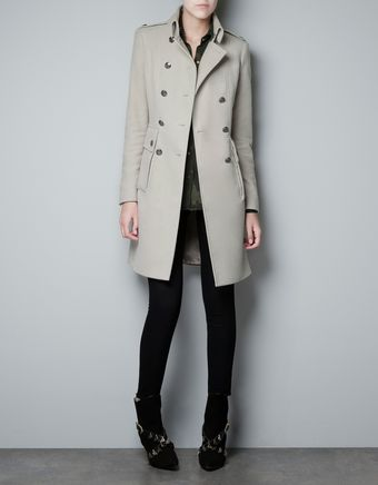 Zara Velveton Military Coat - Lyst