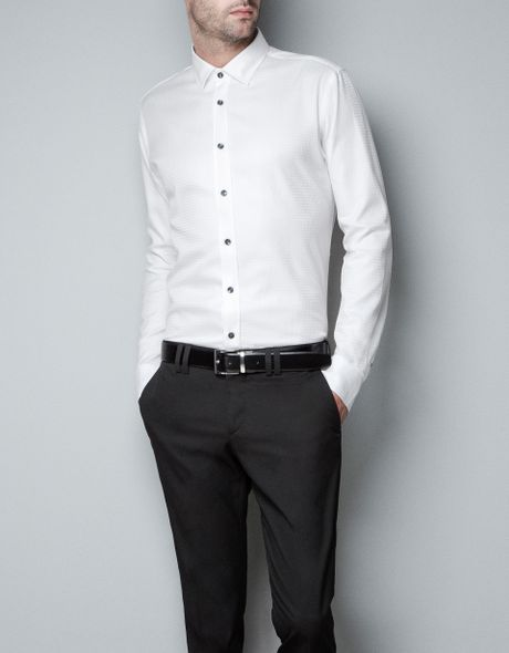 Zara hounds tooth checked shirt in white for men lyst for Zara mens shirts sale