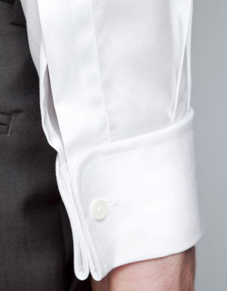Zara Twill Shirt With Cufflinks In White For Men Lyst