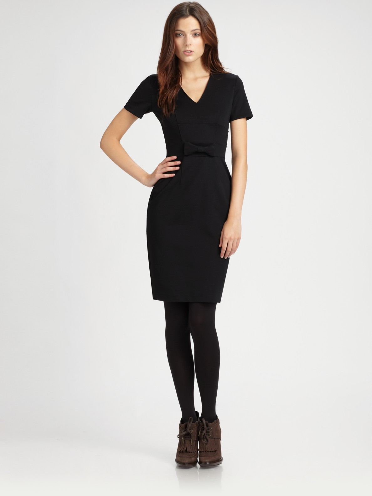 Lyst Burberry Jersey Bow Dress In Black