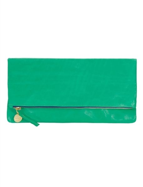 Clare Vivier Foldover Clutch in Green