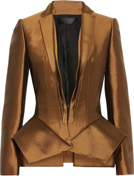 Haider Ackermann Wool and Silkblend Peplum Jacket in Brown (bronze) - Lyst