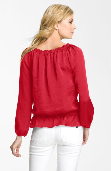Zara Red Lace Peplum Blouse 47