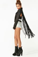 Nasty Gal Ascii Leather Moto Jacket Fringe in Black - Lyst