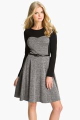Suzi Chin For Maggy Boutique Tweed Inset Fit Flare Dress - Lyst