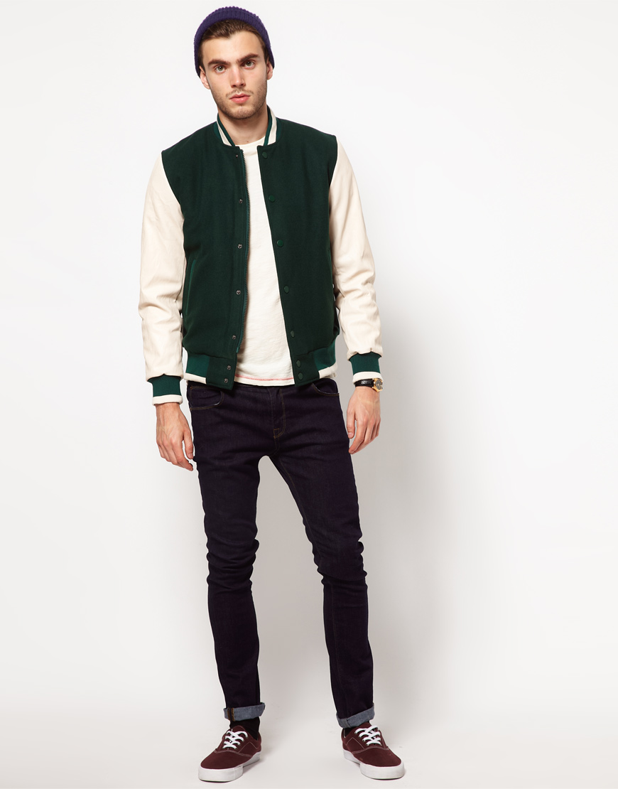 Asos Wool Baseball Jacket with Leather Look Sleeves in Green for ...